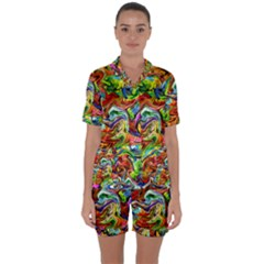 Pattern 21 Satin Short Sleeve Pyjamas Set by ArtworkByPatrick