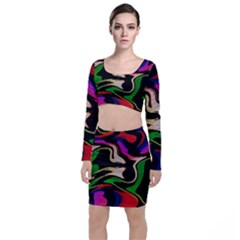 Hot Abstraction With Lines 1 Long Sleeve Crop Top & Bodycon Skirt Set