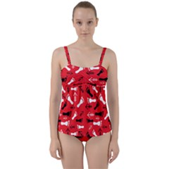 Red Twist Front Tankini Set by HASHHAB