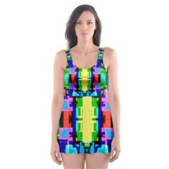 Artwork By Patrick  Colorful 1 Skater Dress Swimsuit