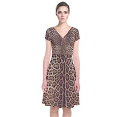 Leopard Print Short Sleeve Front Wrap Dress