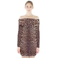 Leopard Print Long Sleeve Off Shoulder Dress