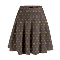 Louis Dachshund  Luxury Dog Attire High Waist Skirt by PodArtist