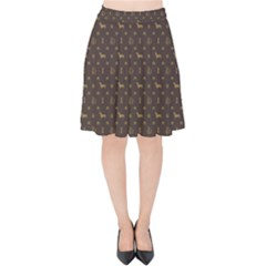 Louis Dachshund  Luxury Dog Attire Velvet High Waist Skirt by PodArtist