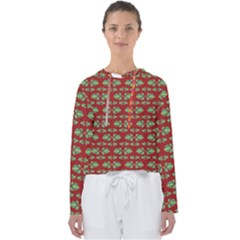 Tropical Stylized Floral Pattern Women s Slouchy Sweat