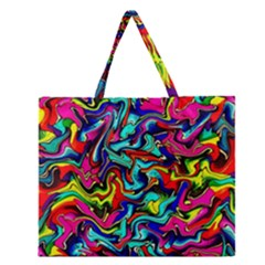 Pattern 34 Zipper Large Tote Bag
