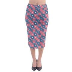 Squares And Circles Motif Geometric Pattern Midi Pencil Skirt by dflcprints