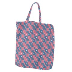 Squares And Circles Motif Geometric Pattern Giant Grocery Zipper Tote by dflcprints