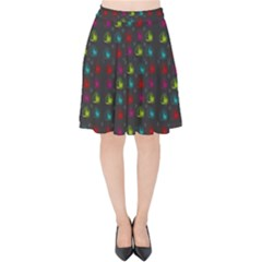 Roses Raining For Love  In Pop Art Velvet High Waist Skirt