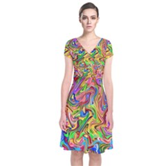 Colorful 2 Short Sleeve Front Wrap Dress