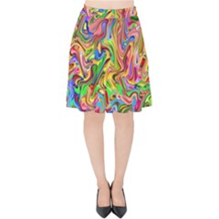 Colorful 2 Velvet High Waist Skirt