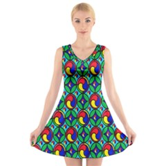 Colorful 4 V Neck Sleeveless Skater Dress