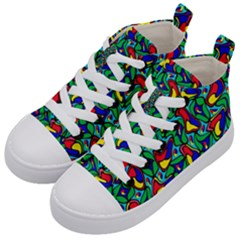 Colorful 4 1 Kid s Mid Top Canvas Sneakers by ArtworkByPatrick