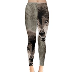 Dim Gray Fierce Husky Head Print Leggings  by PattyVilleDesigns