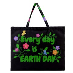 Earth Day Zipper Large Tote Bag by Valentinaart