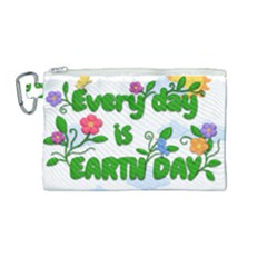 Earth Day Canvas Cosmetic Bag (medium) by Valentinaart