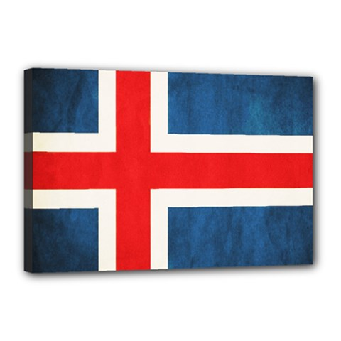 Iceland Flag Canvas 18  X 12  by Valentinaart