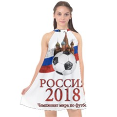 Russia Football World Cup Halter Neckline Chiffon Dress
