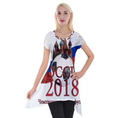 Russia Football World Cup Short Sleeve Side Drop Tunic by Valentinaart
