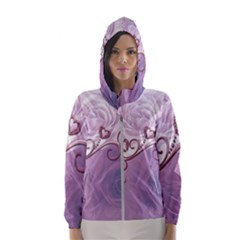 Wonderful Soft Violet Roses With Hearts Hooded Wind Breaker (women)