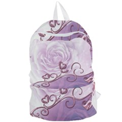 Wonderful Soft Violet Roses With Hearts Foldable Lightweight Backpack by FantasyWorld7