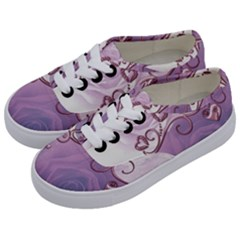 Wonderful Soft Violet Roses With Hearts Kids  Classic Low Top Sneakers by FantasyWorld7