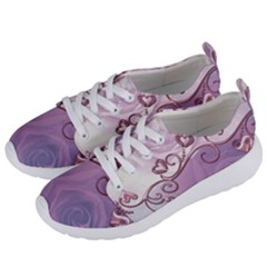 Wonderful Soft Violet Roses With Hearts Women s Lightweight Sports Shoes by FantasyWorld7