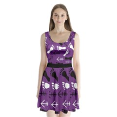 Purple Split Back Mini Dress
