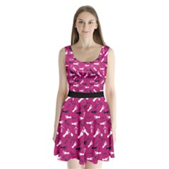 Hot Pink Split Back Mini Dress  by HASHHAB