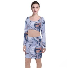 Liquid Gold And Navy Marble Long Sleeve Crop Top & Bodycon Skirt Set