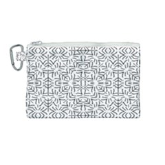 Black And White Ethnic Geometric Pattern Canvas Cosmetic Bag (medium) by dflcprints