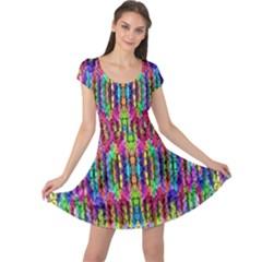 Colorful 7 Cap Sleeve Dress