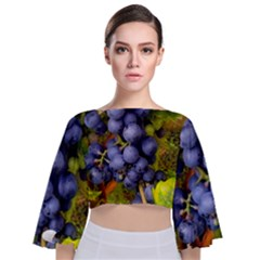 Grapes 1 Tie Back Butterfly Sleeve Chiffon Top