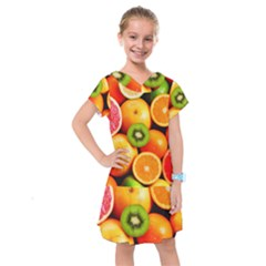 Mixed Fruit 1 Kids  Drop Waist Dress by trendistuff