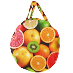 Mixed Fruit 1 Giant Round Zipper Tote by trendistuff