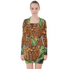 Pineapple 2 V Neck Bodycon Long Sleeve Dress by trendistuff