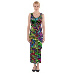 Artwork By Patrick Colorful 9 Fitted Maxi Dress