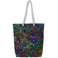 Artwork By Patrick Colorful 9 Full Print Rope Handle Tote (small)
