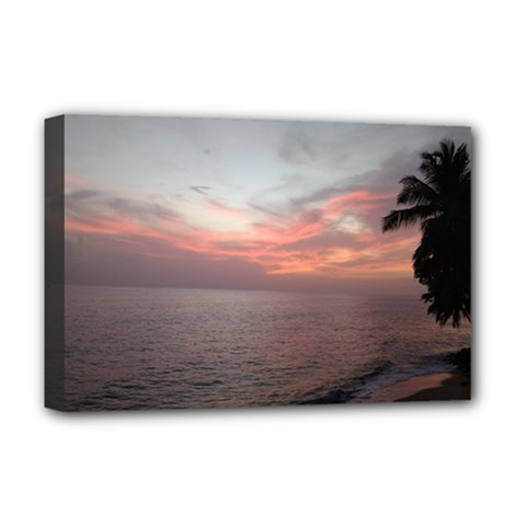 Red Sunset Rincon Puerto Rico Deluxe Canvas 18  X 12   by sherylchapmanphotography