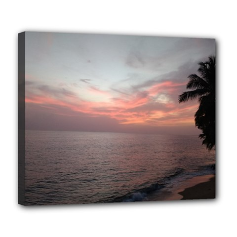 Red Sunset Rincon Puerto Rico Deluxe Canvas 24  X 20   by sherylchapmanphotography