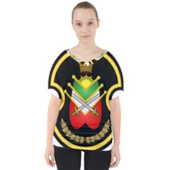 Shield Of The Imperial Iranian Ground Force V Neck Dolman Drape Top by abbeyz71