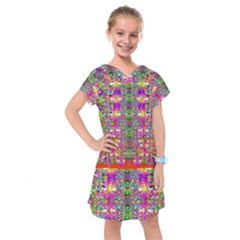 Flower Wall With Wonderful Colors And Bloom Kids  Drop Waist Dress