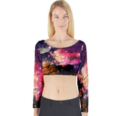 Letter From Outer Space Long Sleeve Crop Top by augustinet