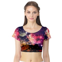 Letter From Outer Space Short Sleeve Crop Top by augustinet