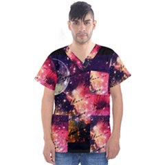 Letter From Outer Space Men s V Neck Scrub Top by augustinet