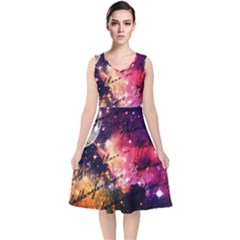 Letter From Outer Space V Neck Midi Sleeveless Dress  by augustinet