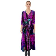 Magic Forest Button Up Boho Maxi Dress by augustinet