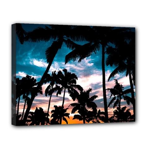 Palm Trees Summer Dream Canvas 14  X 11