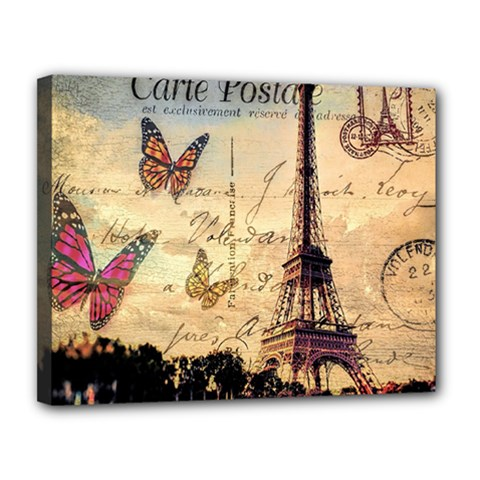 Vintage Paris Carte Postale Canvas 14  X 11