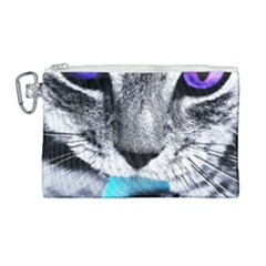 Purple Eyes Cat Canvas Cosmetic Bag (large) by augustinet